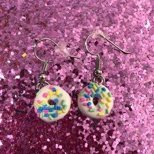 White donuts earrings